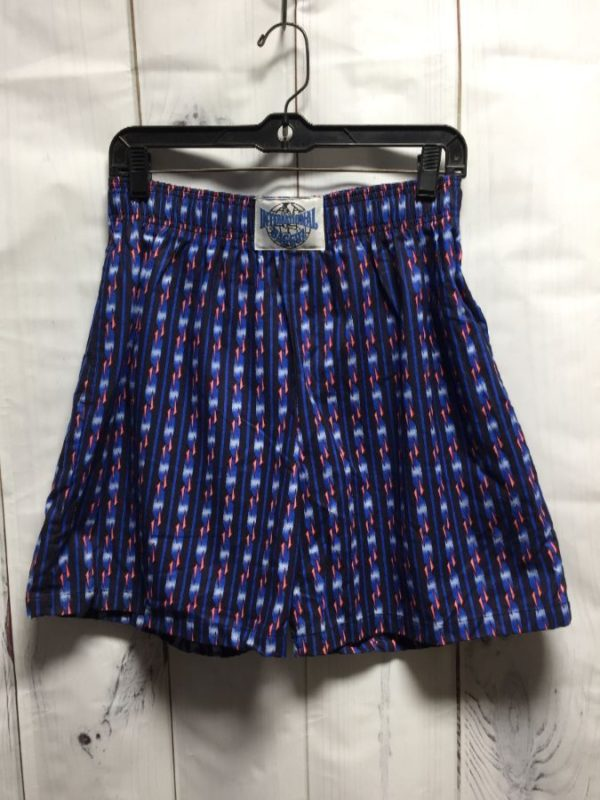 product details: 1990'S VINTAGE FUNKY CHECK-MARK & VERTICAL STRIPE PRINT COTTON BOXING SHORTS photo