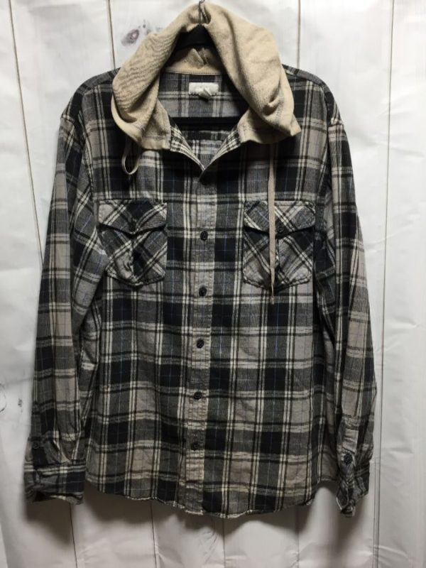 product details: COOL 1990'S HOODED PLAID PATTERN FLANNEL SHIRT photo