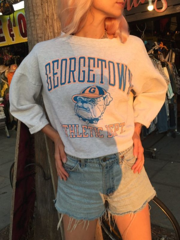 product details: CROPPED GEORGETOWN HOYAS SWEATSHIRT W/ NEON COLORS photo