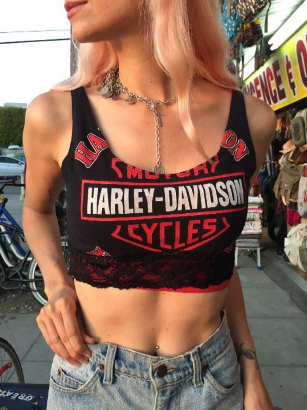 product details: RE-PURPOSED HARLEY DAVIDSON CROPPED TANK TOP W/ LACE TRIM photo