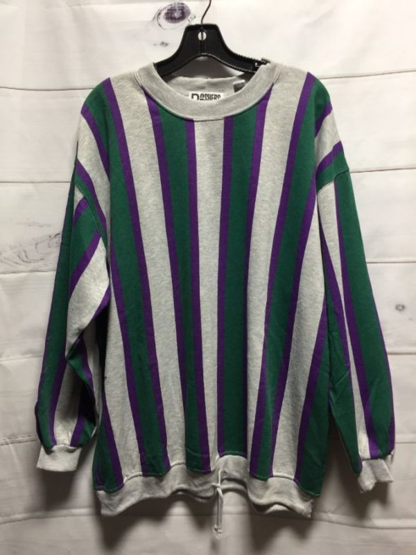 product details: 1990'S RAD VERTICAL STRIPED DESIGN SWEATSHIRT W/ DRAWSTRING AT BOTTOM photo