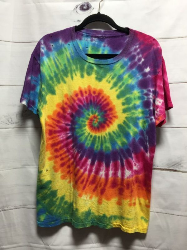 product details: PERFECTLY DISTRESSED PAPER THIN SUPER SOFT SPIRAL TIE-DYED T-SHIRT photo