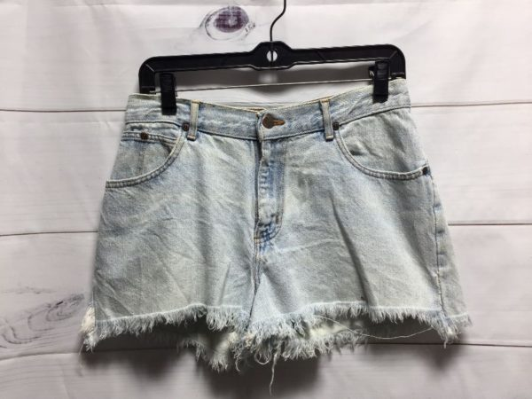 product details: 1990'S NO BOUNDARIES DENIM SHORTS W/ FRAYED HEM & LIGHT ACID WASHED photo