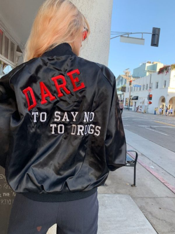product details: SUPER RARE DARE TO SAY NO TO DRUGS SATIN BOMBER JACKET photo