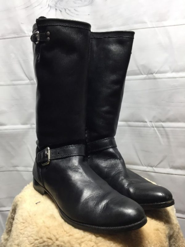 product details: TALL SUPER SOFT BUTTERY LEATHER RIDING BOOTS W/ INSIDE ZIPPERS & OUTSIDE STRAPS & BUCKLES photo