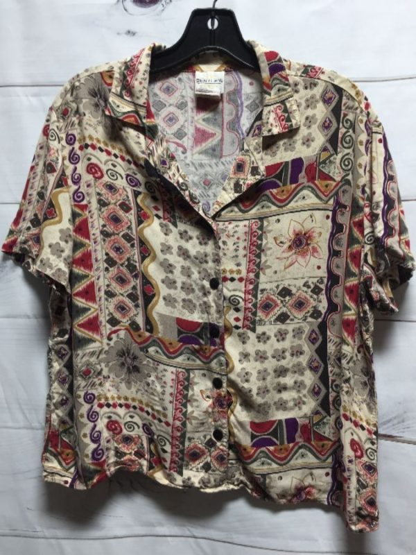 product details: RAYON SHIRT W/ FUNKY TRIANGLE & FLORAL PRINT photo