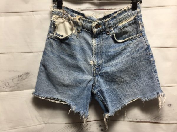 product details: PERFECT SUPER DISTRESSED LEVIS DENIM LONGER LENGTH CUT-OFF SHORTS W/ FRAYED HEMS & ORANGE TAB photo