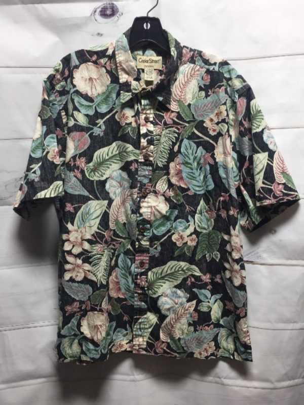 product details: INSIDE OUT FABRIC W/ TROPICAL FLORAL PRINT COTTON HAWAIIAN SHIRT photo