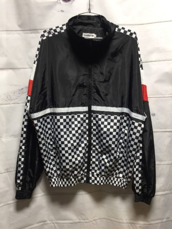 product details: SUPER LIGHTWEIGHT & CHECKERBOARD PATTERN COLOR-BLOCK DESIGN WINDBREAKER CHANYOOU photo