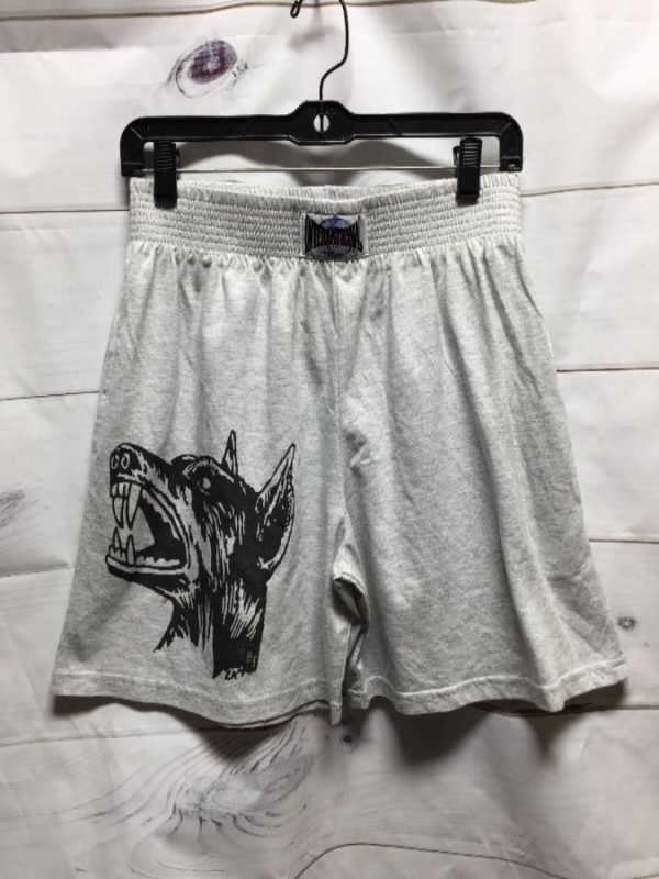 product details: LIMITED EDITION BOXING SHORTS W/ OTHER AREAS LETTERING & K9 DOBERMAN PRINT DESIGN BY LOCAL DESIGNER photo