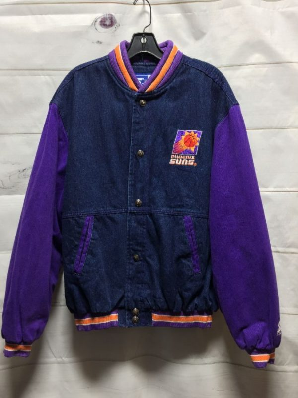 product details: NBA PHOENIX SUNS EMBROIDERED DENIM VARSITY STYLE SPORTS JACKET photo