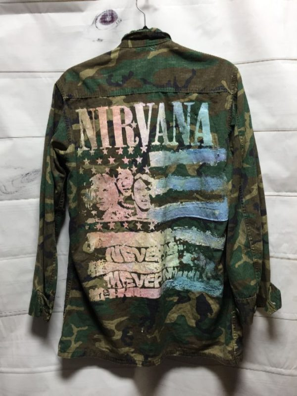 product details: RAD CAMO PRINT MILITARY JACKET NIRVANA BACK PRINT photo