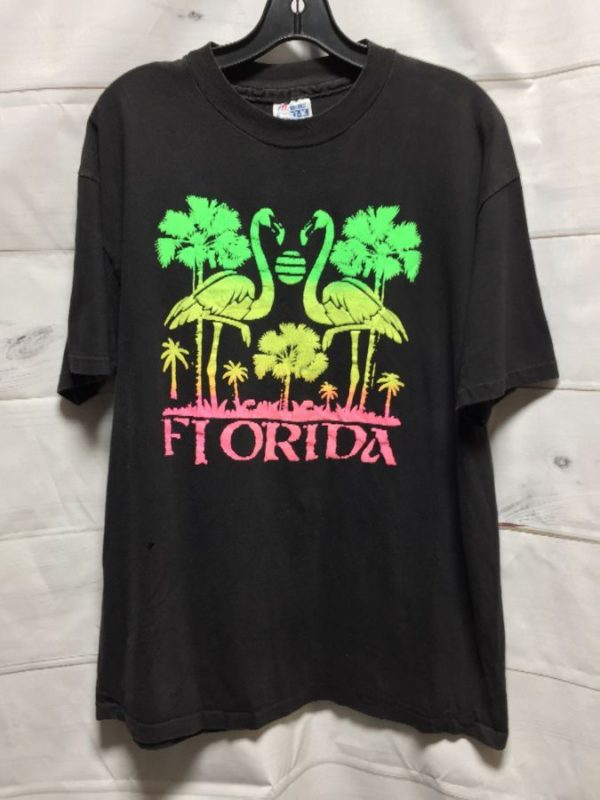 product details: OMBRE' NEON COLORED FLORIDA FLAMINGO PALM TREE PUFF INK PRINT T-SHIRT photo