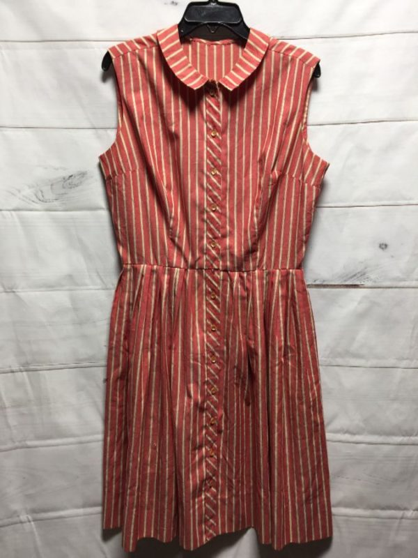 product details: PINSTRIPE BUTTON DOWN COLLARED DRESS photo
