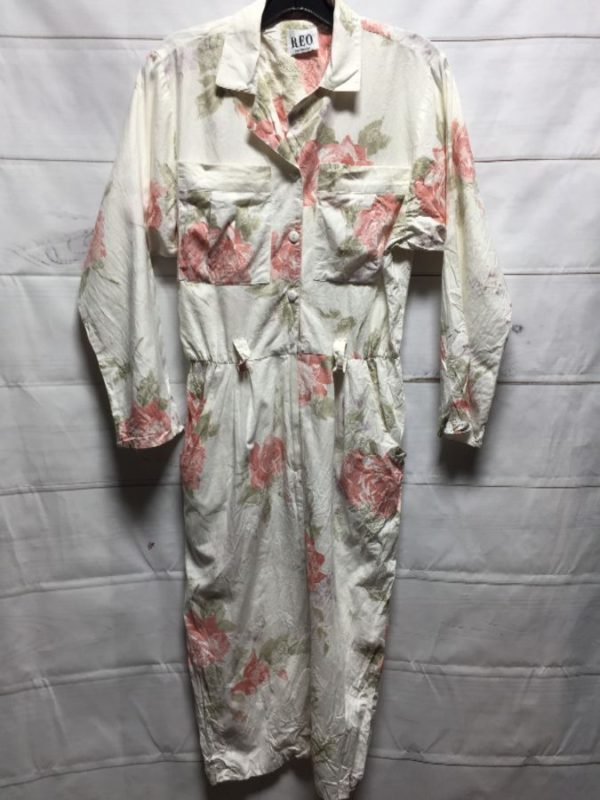 product details: CLASSIC 1980S LONG SLEEVE FLORAL PRINTED COLLARED BUTTON DOWN COTTON DRESS photo