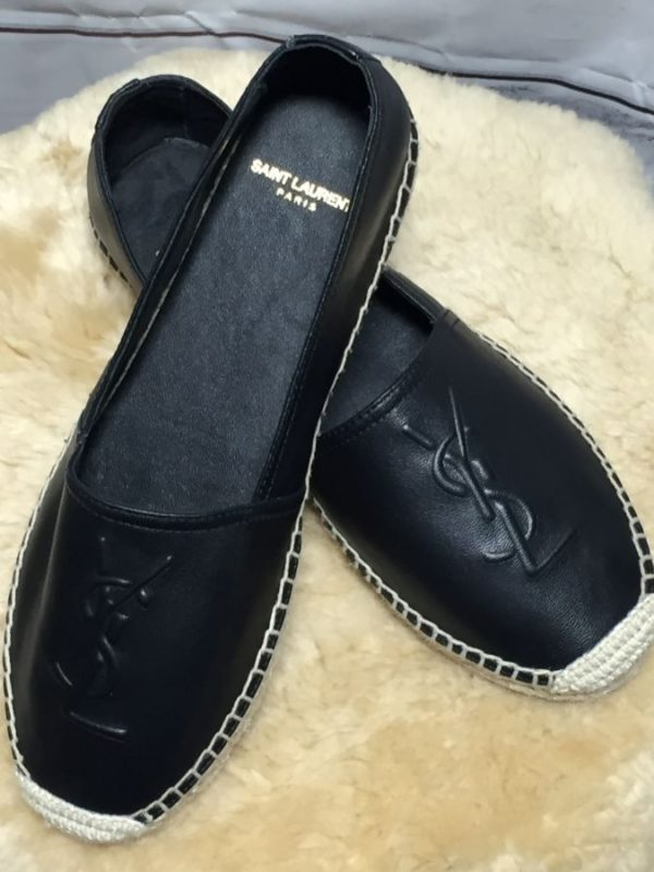 product details: BUTTER LEATHER EMBOSSED YSL ESPADRILLE SLIP ON FLATS photo