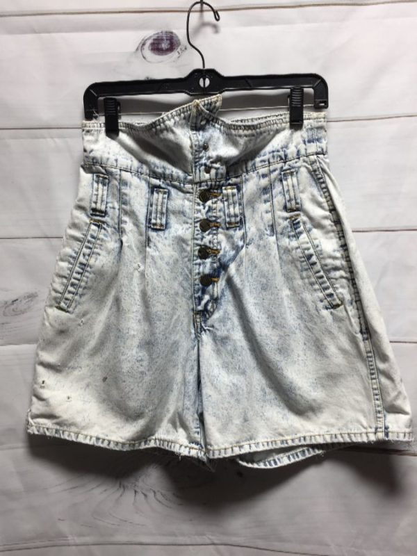product details: ACID WASH HIGH-WAIST PAPER BAG STYLE DENIM SHORTS photo