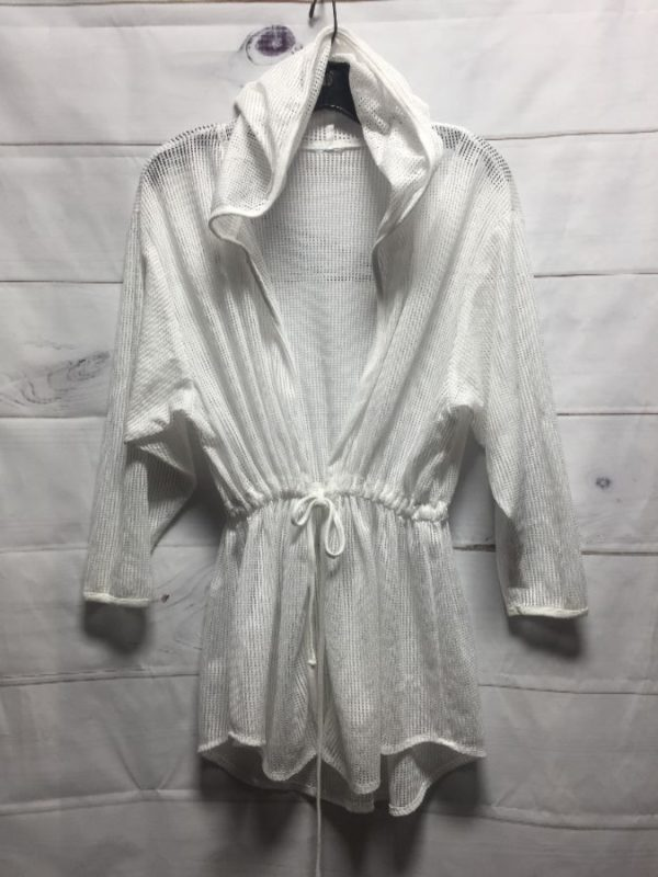product details: NET/MESH FABRIC HOODED & OPEN FRONT BEACH COVER-UP JACKET photo