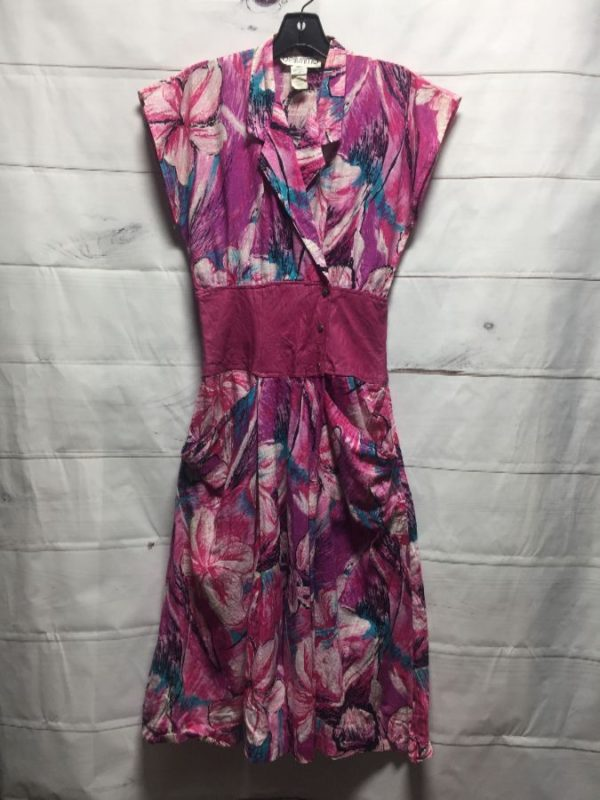 product details: 1980S FUNKY PINK COTTON CAP SLEEVE DRESS photo