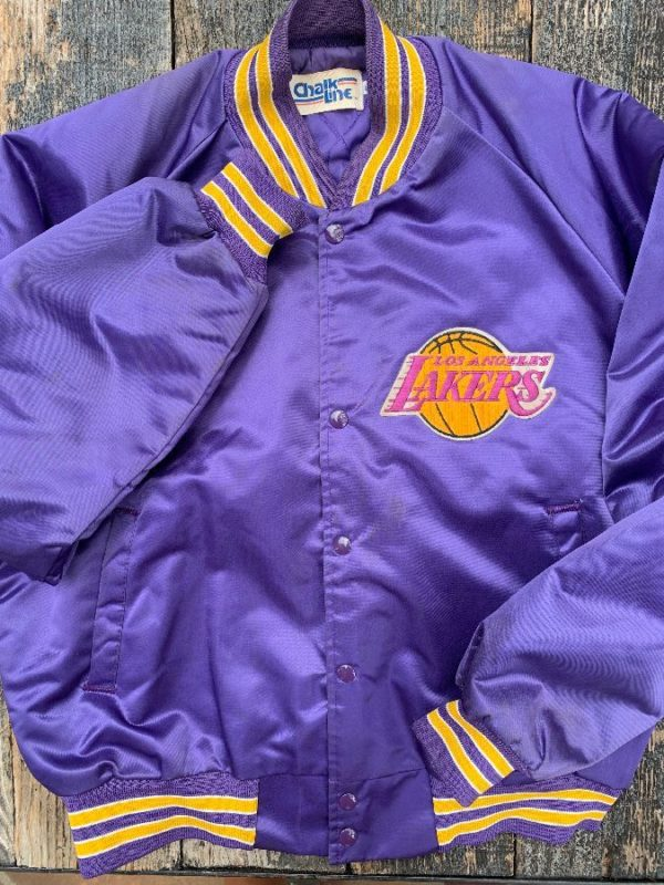 product details: NBA LOS ANGELES LAKERS SATIN SPORTS JACKET W/ APPLIQUED LETTERS & EMBROIDERED PATCH photo