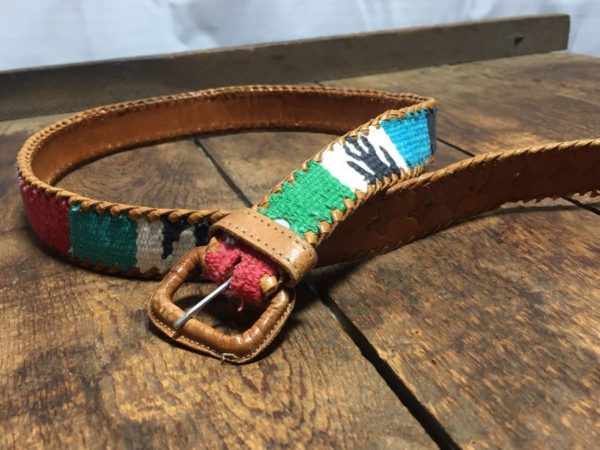 product details: MULTI-COLORED WOVEN BELT W/ LEATHER BACKING/END/COVERED BUCKLE & WHIPSTITCHED EDGES photo