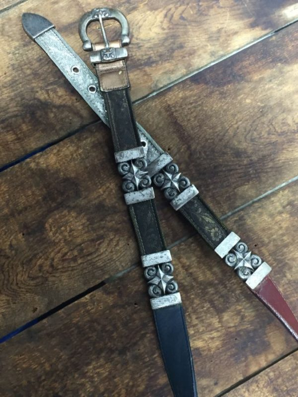 product details: LEATHER BELT MIXED W/ HEAVY METAL MESH & ORNATE HARDWARE photo