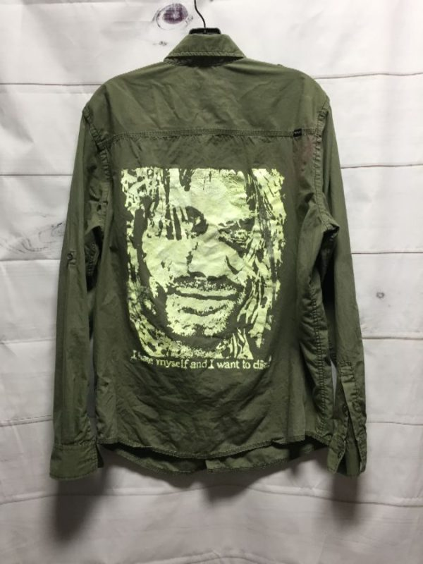 product details: CLASSIC ARMY COLORED BUTTON DOWN SHIRT WITH LARGE NIRVANA KURT COBAIN BACK GRAPHIC AS-IS photo