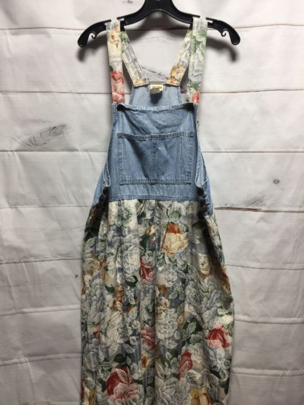 product details: 1990'S DENIM MAXI DRESS W/ FLORAL PRINT ON SKIRT AREA & OVERALL STYLE TOP photo