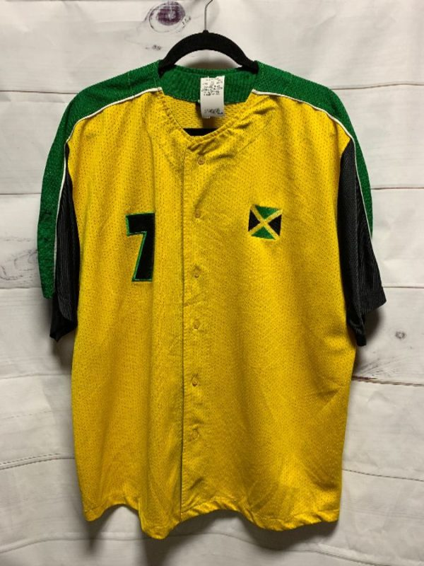 product details: BASEBALL JERSEY W/ JAMAICA #7 & EMBROIDERED LOGO photo