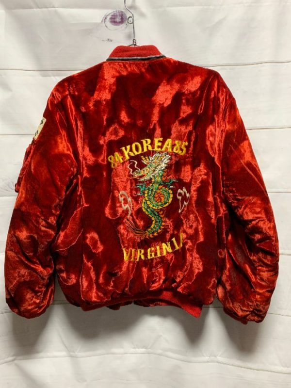 product details: AMAZING EMBROIDERED VELVET TOUR Jacket 1984-85 KOREA Removable Hood photo