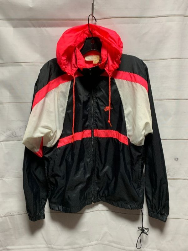 product details: Retro Nike infrared dayglow colorblock windbreaker with hideaway hood photo
