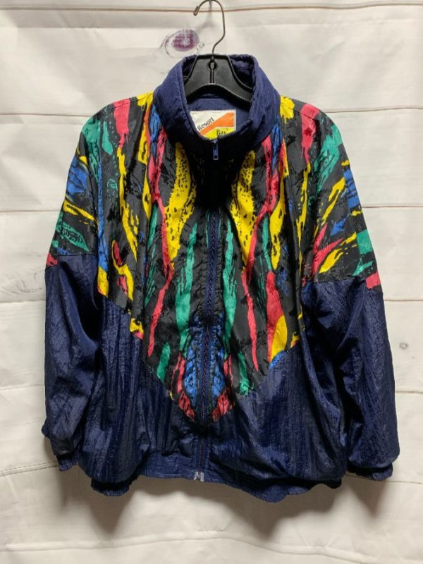 product details: WILD 1990'S MULTI-COLORED VERTICAL ABSTRACT SHAPES PRINT WINDBREAKER JACKET photo