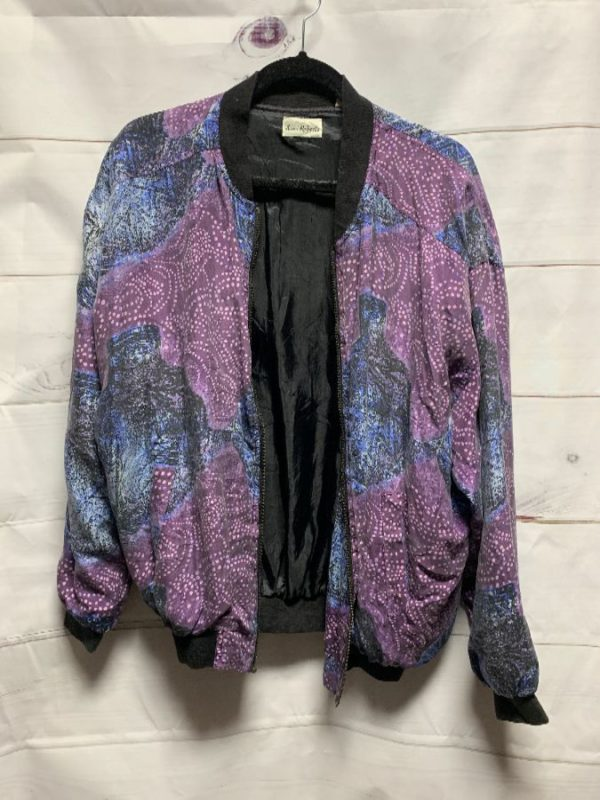 product details: SILK STARRY TRIBAL PRINT WINDBREAKER BOMBER JACKET photo