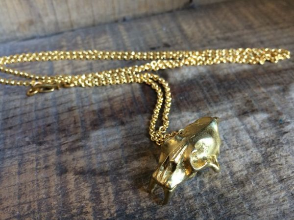product details: GOLD PLATED SABERTOOTH TIGER SKULL NECKLACE photo
