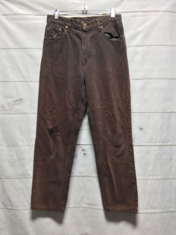 product details: AMAZING LEVIS 550 RELAXED FIT BROWN DENIM JEANS DISTRESSED - AS IS photo