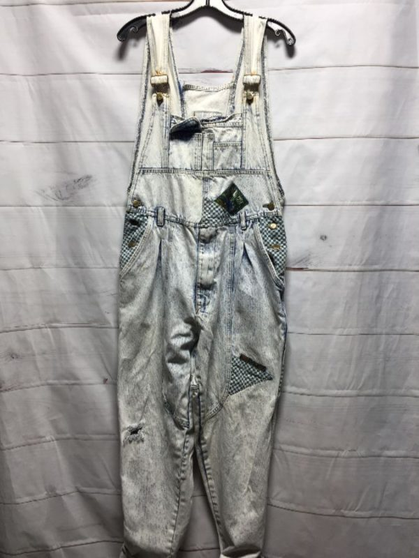 product details: 1980'S-90'S ACID WASH CHECKERED PATCHWORK TRIMMED OVERALLS photo