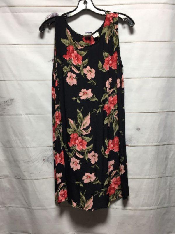 product details: FLORAL PRINT MINI LENGTH & SHIFT SYLE SLEEVELESS DRESS photo
