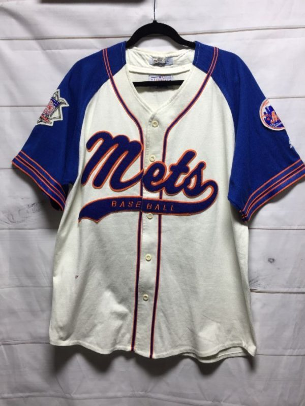 product details: MLB NEW YORK METS COTTON BASEBALL JERSEY W/ APPLIQUED LETTERING photo