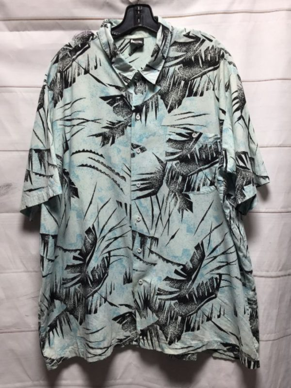 product details: 1980S-90S OVERSIZED HAWAIIAN BUTTON UP SHIRT PALM TREE LEAVES - AS IS photo