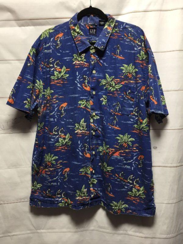 product details: 1990'S THE GAP COTTON HAWAIIAN SHIRT W/ SURFER & PALM TREE PRINT photo