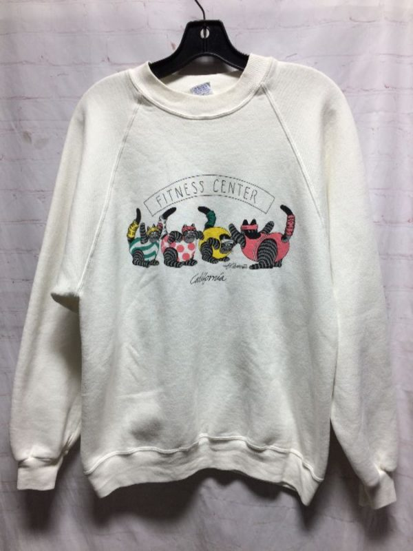 product details: SWEATSHIRT CREW-NECK W/ FAT CAT FITNESS CENTER CALIFORNIA DESIGN ON FRONT & BACK photo