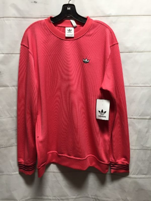 product details: ADIDAS PULLOVER ACTIVE-WEAR LIGHT-WEIGHT SWEATSHIRT W/ STRIPED CUFFS photo