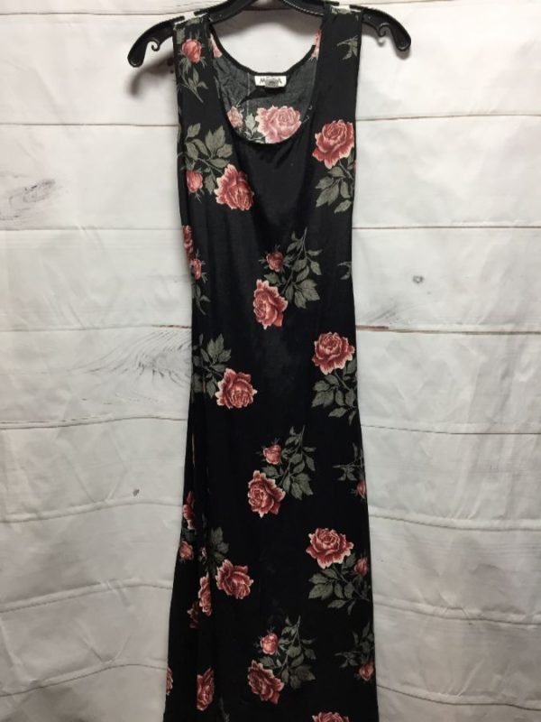 product details: 1990'S MAXI RAYON DRESS W/ ROSE FLORAL PRINT photo