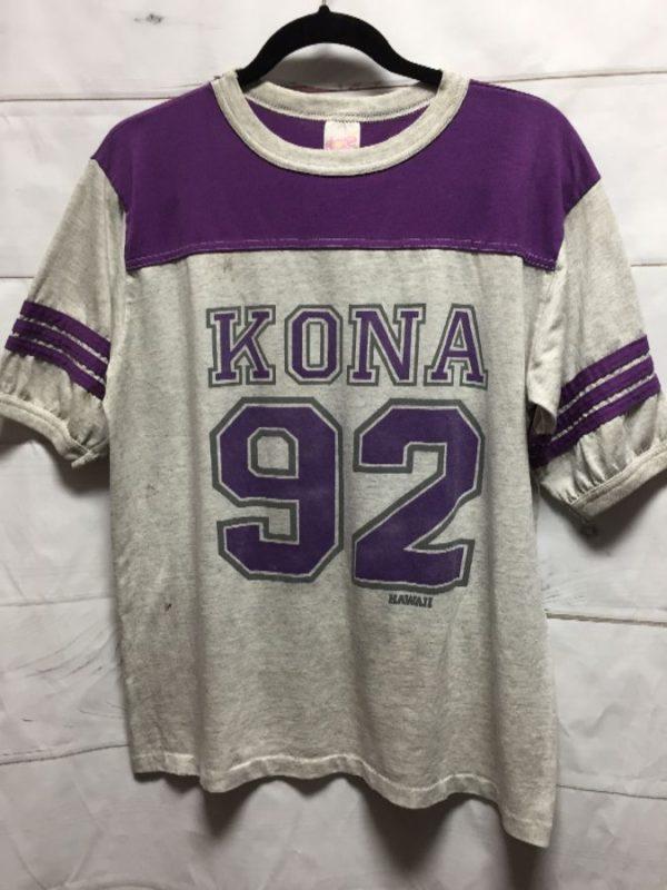 product details: KONA HAWAII #92 RINGER TEE W/ STRIPED SLEEVE TRIM T-SHIRT photo