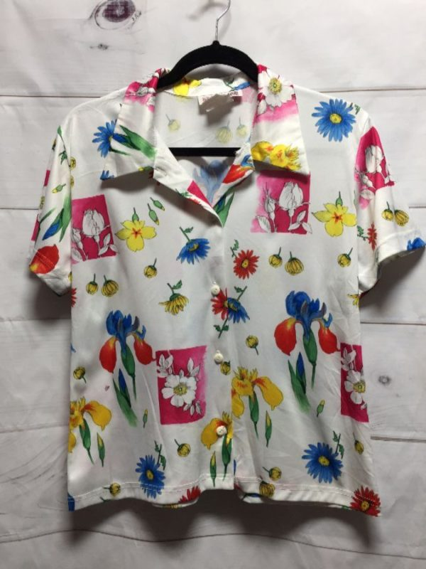 product details: 1970'S BRIGHT COLORED FLORAL PRINT BLOUSE photo