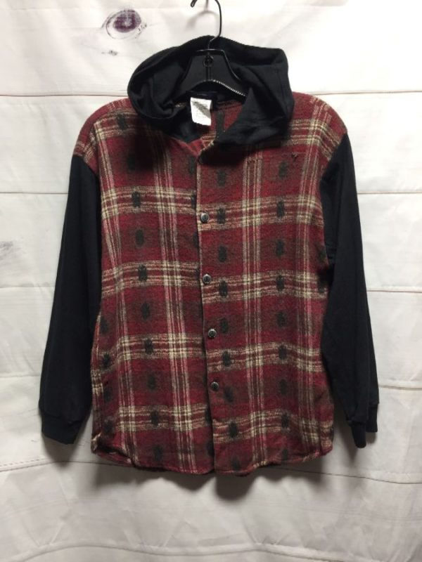 product details: LONG SLEEVE BUTTON DOWN HOODED FLANNEL SHIRT WITH COTTON SLEEVES photo