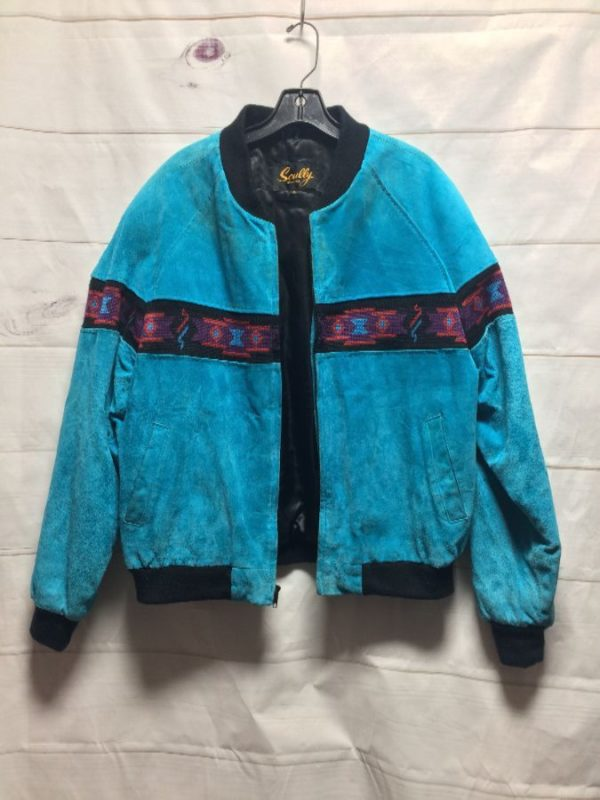 product details: SUEDE BOMBER JACKET WITH WOVEN AZTEC STRIPE CONTRAST DESIGN- AS IS photo