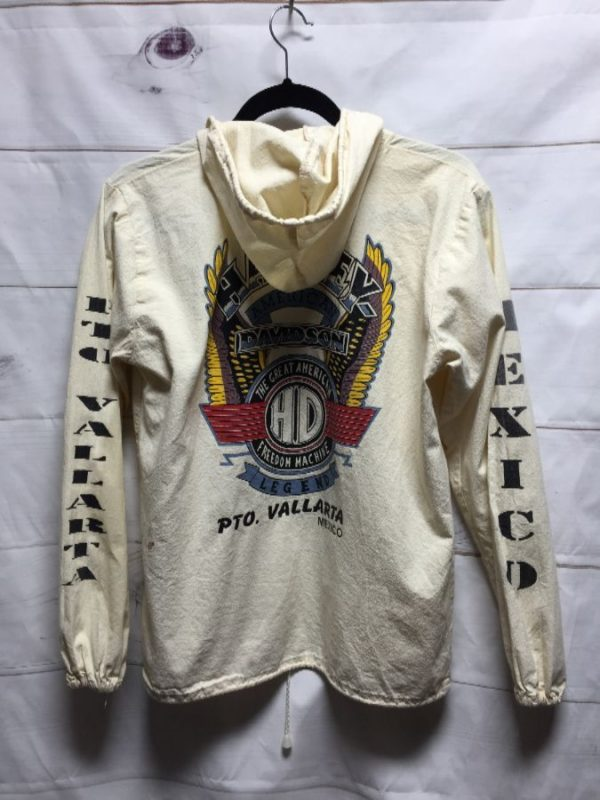 product details: HARLEY DAVIDSON MEXICO LONG SLEEVE GRAPHIC COTTON ZIP UP JACKET - AS IS *BROKEN ZIPPER photo