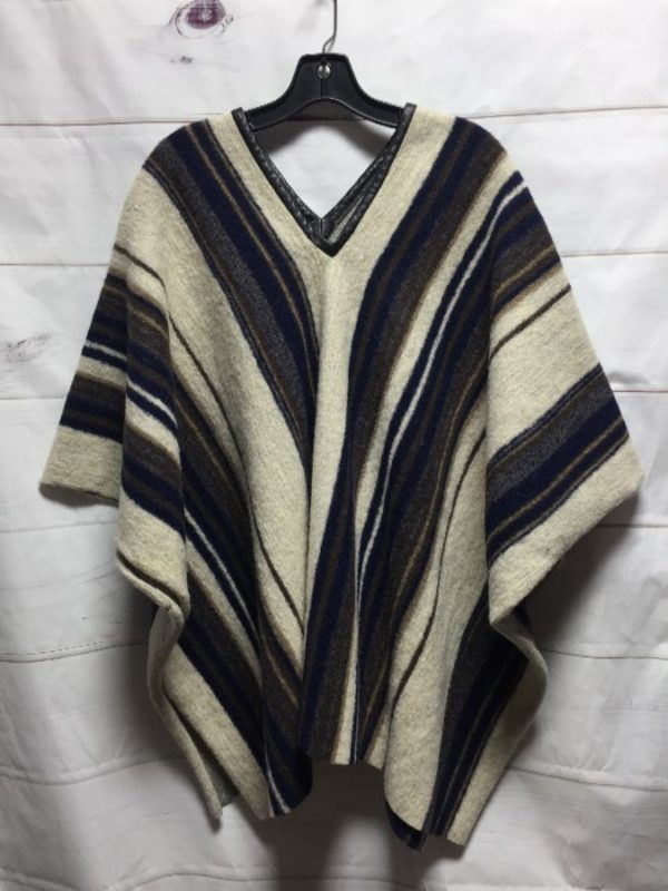product details: WOOL KNIT PONCHO W/ VERTICAL STRIPE PATTERN & LAMB LEATHER BINDING photo