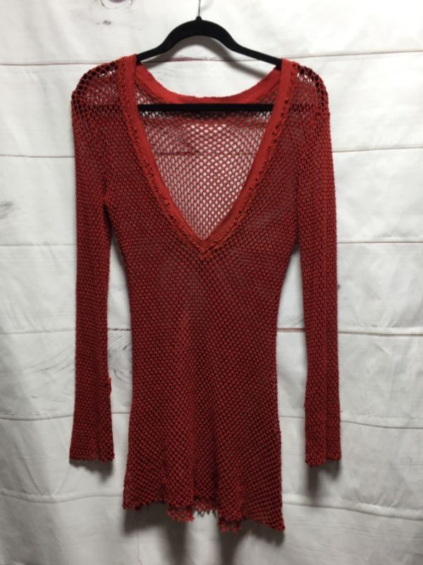 product details: DEEP V-NECK & FISHNET WEAVE KNIT SWEATER DRESS photo